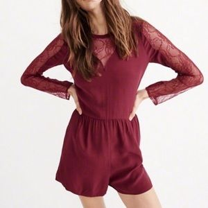 ABERCROMBIE & FITCH Rust Lace Romper NWT